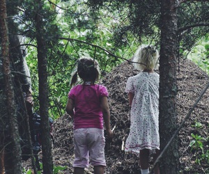 forest, girls, and trees image