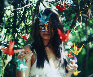 girl, mask, and photography image