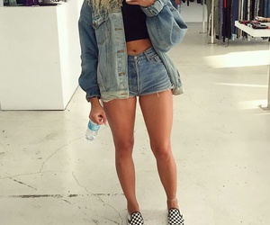vans sneakers, curly blonde hair, and blue high waisted shorts image