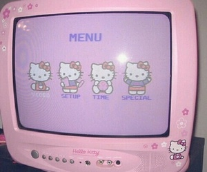 pink, hello kitty, and tv image