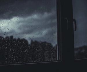 rain, dark, and window image