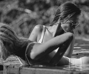 bikini, black and white, and fashion image