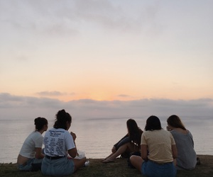 friends, aesthetic, and sunset image