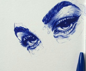 art drawing eyes pen blue image