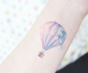 air balloon, blue, and tattoo image