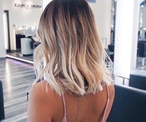 blond, highlights, and short hair image