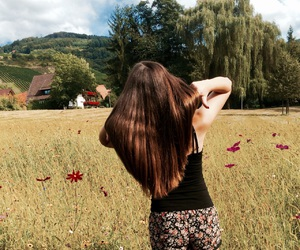brownhair, flowers, and green image