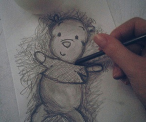 bear, charcoal, and painting image