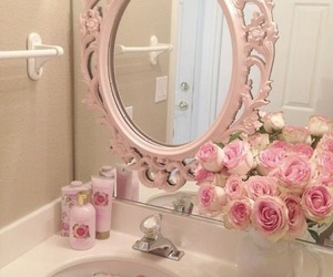 bathroom, roses, and pink image