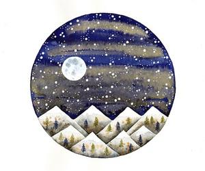 art, moon, and circle image