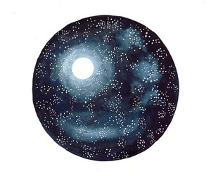 art, moon, and star image