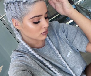 hair, braid, and adidas image
