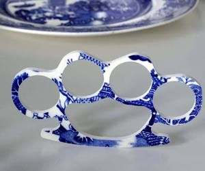 blue, brass knuckles, and china image