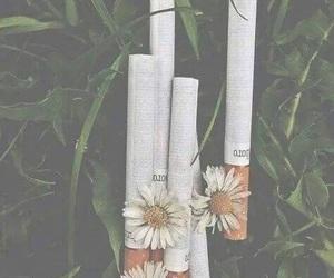cigarette, flowers, and smoke image