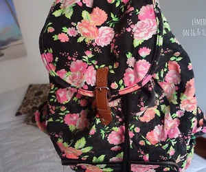 backpack, bag, and floral image