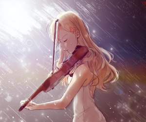 anime, violin, and rain image