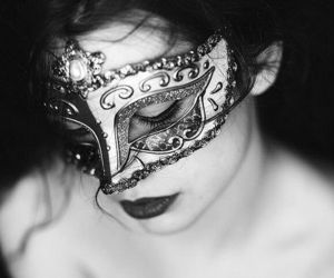 beauty, black n white, and masquerade image