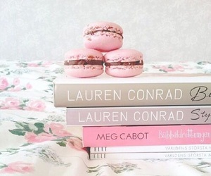 book, macarons, and pink image