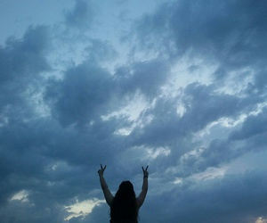 girl, peace, and sky image