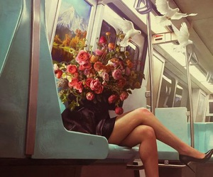 flowers, art, and woman image