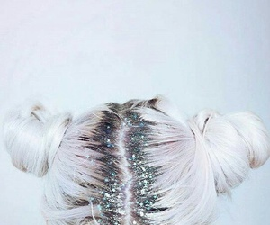 hair, glitter, and white image