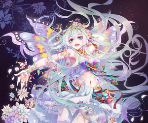 anime, fairy, and flowers image