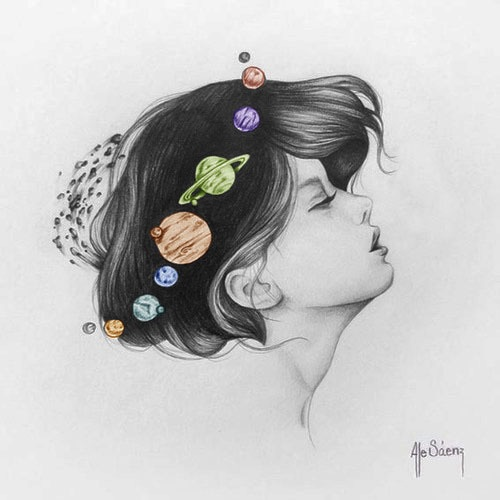 Imagen de girl, art, and planet
