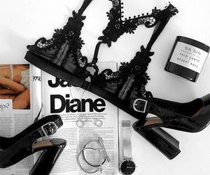 bralette, lingerie, and stilettos image