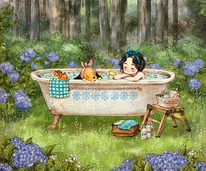 bath, diary, and forest image