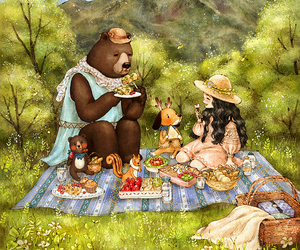 girl, picnic, and bear image