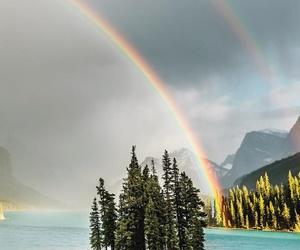 Island, rainbow, and trees image