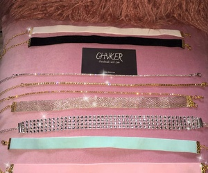 black choker necklace, pink choker necklace, and gold choker necklace image