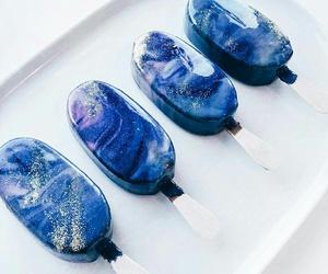 food, ice cream, and blue image