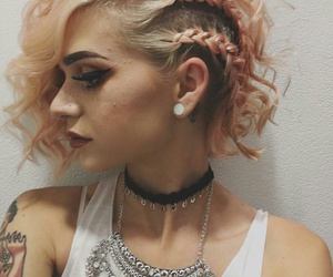 Black Eyeliner, arm tattoos, and black choker necklace image