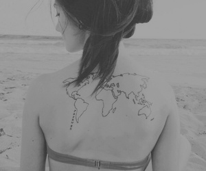 black and white, map, and world image