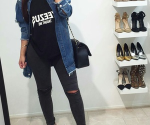 black purse, black ripped jeans, and straight brown hair image