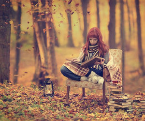 book, autumn, and forest image