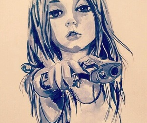 girl, gun, and art image