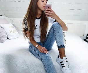 adidas, hair, and jeans image