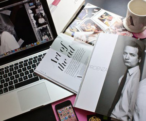magazine, coffee, and laptop image