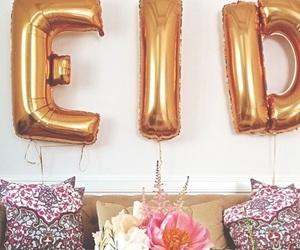 balloon, eid mubarak, and pillows image