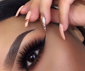 eyeliner, makeup, and nail art image
