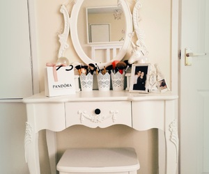 dressing table, bedroom inspiration, and makeup image