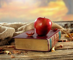 book, apple, and autumn image