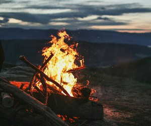 bonfire, evening, and fire image