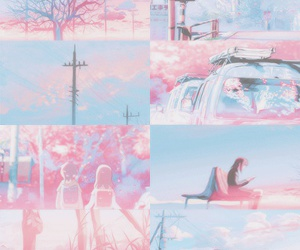 anime, background, and pink image
