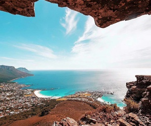 beach, cape town, and mountain image