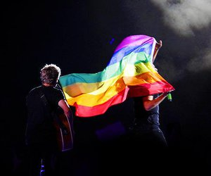 Harry Styles, one direction, and rainbow image