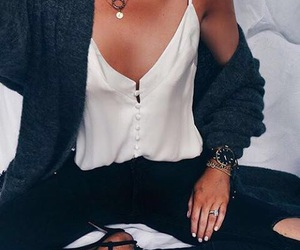blouse, jewelry, and ripped image