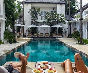 pool, couple, and home image